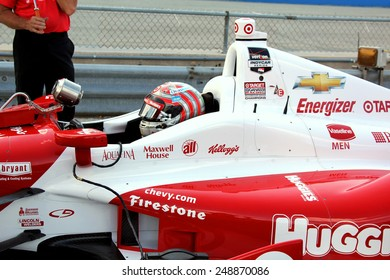 Milwaukee Wisconsin, USA - August 16, 2014: Verizon Indycar Series Indyfest ABC 250 Practice and Qualifying sessions on track action. Tony Kanaan Salvador, Brazil Huggies Chevrolet Target Ganassi