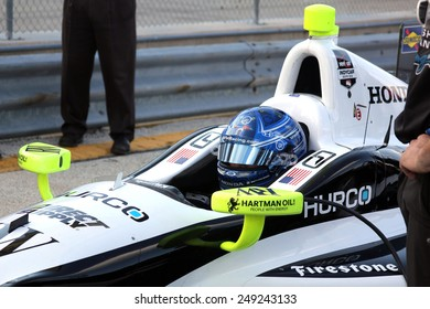 Milwaukee Wisconsin, USA - August 16, 2014: Verizon Indycar Series Indyfest ABC 250 Practice and Qualifying sessions. Josef Newgarden Hendersonville, Tenn. Direct Supply/Sarah Fisher Hartman Racing
