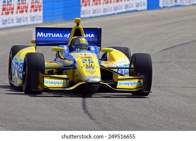 Milwaukee Wisconsin, USA - August 16, 2014: Verizon Indycar Series Indyfest ABC 250 Practice and Qualifying sessions on track action. Marco Andretti Nazareth, Pa. Snapple Honda
