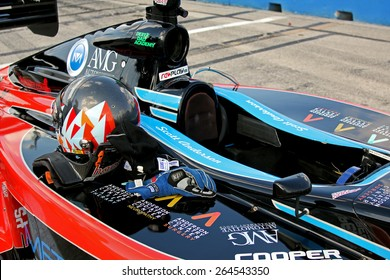 Milwaukee Wisconsin, USA - August 16, 2014: Indycar Indy Lights series practice and qualifying, Milwaukee Mile. 24 Scott Anderson, helmet and sponsors - United States, Fan Force United