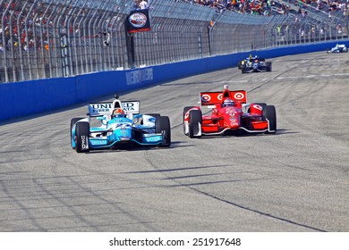 Milwaukee Wisconsin, USA - August 17, 2014: Verizon Indycar Series Indyfest ABC 250  race day on track action. 27 James Hinchcliffe Toronto, Canada United Fiber & Data Honda Andretti Autosport