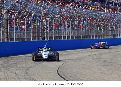 Milwaukee Wisconsin, USA - August 17, 2014: Verizon Indycar Series Indyfest ABC 250  race day on track action.20 Ed Carpenter Indianapolis, Ind. Fuzzy's Vodka Chevrolet Ed Carpenter Racing
