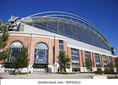 MILWAUKEE, WISCONSIN, USA - August 24, 2011: Miller Park seen with blue sky seen during summer day. Miller Park was built in 2001. Home for Milwaukee Brewers. The capacity of the stadium is 41,900.