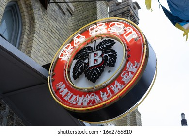 Milwaukee, Wisconsin / USA - Jan 11, 2020: Pabst neon sign hangs outside for the entrance