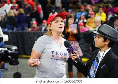 Milwaukee, Wisconsin / USA - January 14th, 2020: Phoenix Rising in America Kid Reporter interviewing President Donald Trump Supporters at UW-Milwaukee Panther Arena Make America Great Again Rally