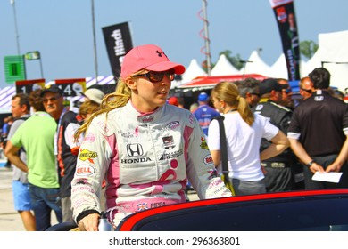 Milwaukee Wisconsin, USA - July 12, 2015: Verizon Indycar Series Indyfest ABC 250 at the Milwaukee Mile. Driver introductions before the race pippa mann