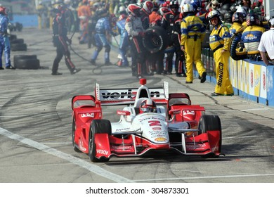 Milwaukee Wisconsin, USA - July 12, 2015: Verizon Indycar Series Indyfest ABC 250 at the Milwaukee Mile. Pit Stop Action Juan Pablo Montoya Bogota, Colombia Verizon Team Penske Chevrolet