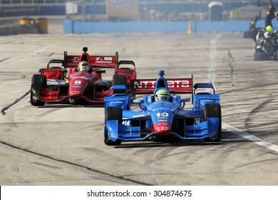 Milwaukee Wisconsin, USA - July 12, 2015: Verizon Indycar Series Indyfest ABC 250 at the Milwaukee Mile. Pit Stop Action Tony Kanaan Salvador, Brazil NTT Data Chip Ganassi Racing Chevrolet