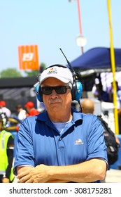 Milwaukee Wisconsin, USA - July 12, 2015: Verizon Indycar Series Indyfest ABC 250 at the Milwaukee Mile. Robin Miller pit reporter.