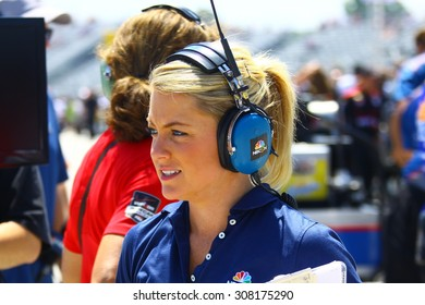 Milwaukee Wisconsin, USA - July 12, 2015: Verizon Indycar Series Indyfest ABC 250 at the Milwaukee Mile. Katie Hargitt Pit reporter for IndyCar and IndyLights on NBCSN, IndyCar track host