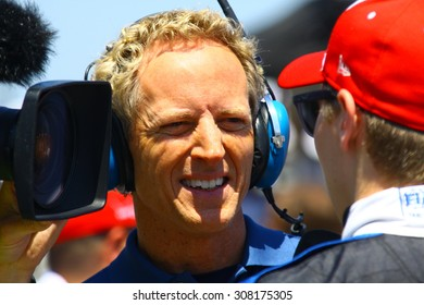 Milwaukee Wisconsin, USA - July 12, 2015: Verizon Indycar Series Indyfest ABC 250 at the Milwaukee Mile. Jon Beekhuis pit reporter Indycar