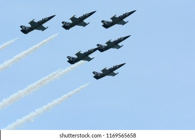 Milwaukee, Wisconsin / USA - July 24, 2015:  Breitling air team practicing the day before the airshow in Milwaukee over Lake Michigan.