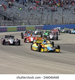 "Milwaukee Wisconsin, USA - June 15, 2013: Indycar Indyfest race Milwaukee Mile. Ana Beatriz leads the group of cars. High speed racing action at ""The Mile"" one mile oval Ana Beatriz, Dale Coyne Racing"