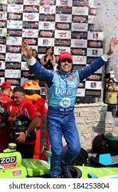 MILWAUKEE, WISCONSIN, USA - JUNE 19, 2011: No. 10 Dario Franchitti, United Kingdom Chip Ganassi Racing,  race winner. Three times Indy 500 winner.