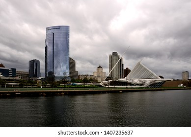 Milwaukee Wisconsin / USA - May 25, 2019: Milwaukee skyline with storm clouds just before the rain the Saturday before Memorial Day.
