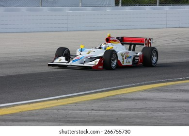 Milwaukee, Wisconsin USA - May 30, 2008 - IndyCar Racing League. Milwaukee Mile 2008. Friday practice session on track. 96 Mario Dominguez (R), Mexico - Pacific Coast Motorsports