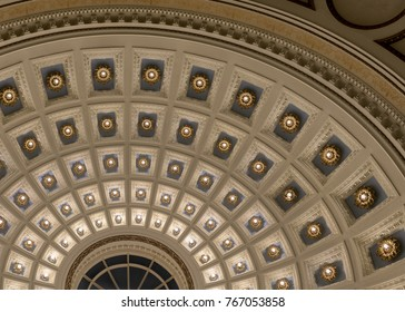 MILWAUKEE, WISCONSIN, USA -  NOVEMBER 15: Ceiling in the lobby of the Milwaukee Public Library (Main Branch) on Wisconsin Avenue on November 15, 2017 in Milwaukee, Wisconsin