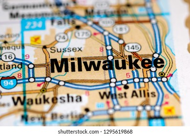 Milwaukee. Wisconsin. USA on a map
