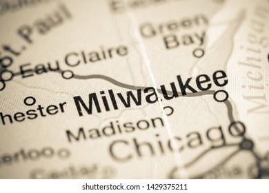 Milwaukee, Wisconsin. USA on a map