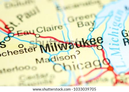Milwaukee Wisconsin Usa On Map Stock Photo Edit Now 1033039705