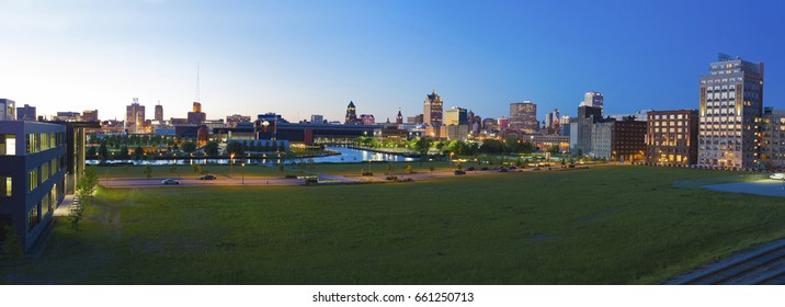 MILWAUKEE, WISCONSIN/UNITED STATES - June 16, 2017: Panoramic view of the skyline of the City of Milwaukee.