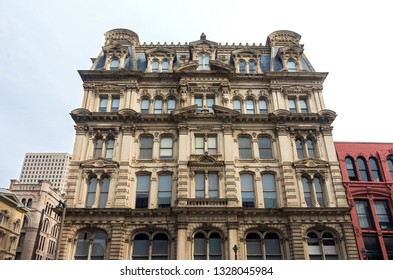 MILWAUKEE, WI/USA –NOVEMBER 23, 2018: The Mitchell Building is a Milwaukee landmark built in 1876 of the Second Empire architectural style listed on the National Register of Historic Places.