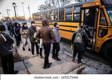Milwaukee, WI/USA - February 2 2020: Wisconsinites travel to Iowa to canvass for Bernie Sanders
