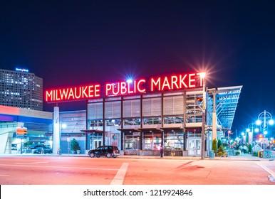 milwaukee,wi,usa.10-08-17 : milwaukee public market at night,wisconsin,usa.