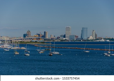Milwaukee,WI/USA-September 23, 2019: Downtown Milwaukee Skyline. Harbor with sailboats in the foreground.