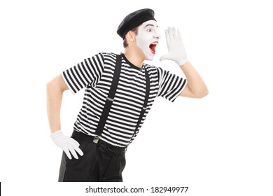Mime artist shouting isolated on white background - Shutterstock ID 182949977