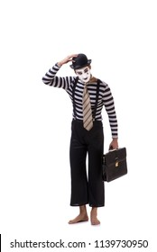 Mime with briefcase isolated on white background