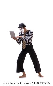 Mime with laptop isolated on white background
