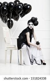 Mime stylized photo of a young beautiful woman