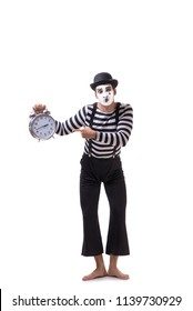 Mime in time management concept isolated on white background