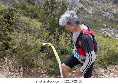 Mimet - France - 04/26/2015: trail of Mimet, running through the mountain of Etoile, north of Marseille