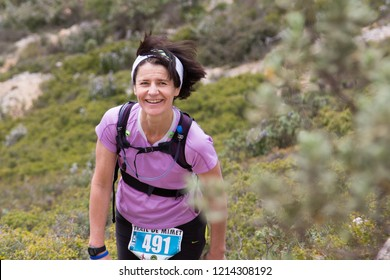 Mimet - France - 04/26/2015: trail of Mimet, running around the mountain of Etoile, north of Marseille