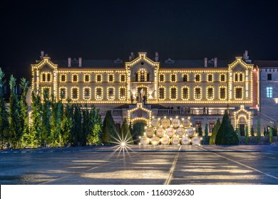 Mimi Castle main building at night. Light reflecting on road. Blue hour sky on background. Place for text