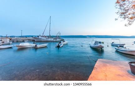 MIMICE, CROATIA- 19 July 2017 - Editorial photo of Croatian marina in Mimice village, croatian coast near Makarska, Croatia