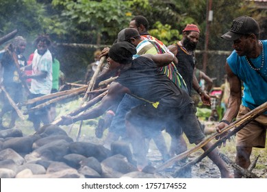 Mimika, Papua / Indonesia September 9 2017 the men take hot stones that have been burned ,in preparation for the Amungmme tribe burning ceremony