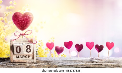 Mimosa And 8 Hearts For Women Day Background