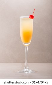 Mimosa cocktail isolated on grey background