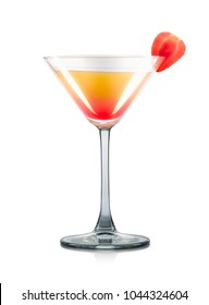 Mimosa cocktail or mocktail in martini glass with strawberry and grenadine syrup isolated on white background. Clipping path