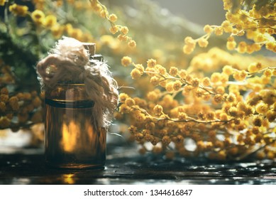 Mimosa flower essential oil on a wooden board background. Herbal medicine.