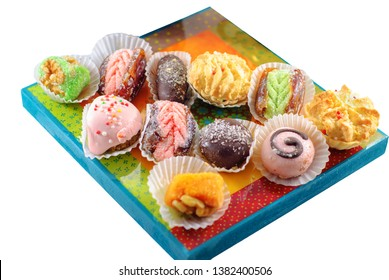 Mimouna Cookies. Arabic Sweets. Middle Eastern Desserts. Festive Moroccan And Henna Cookies. Isolated image.