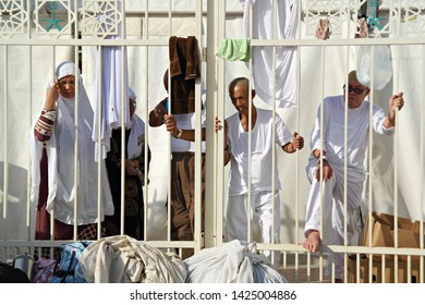 MINA, SAUDI ARABIA : Activities of muslim pilgrims around their tents in Mina, to do jamarat ritual as part of hajj. Millions of muslims around the world perform hajj during this time (08/2018).