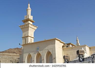 MINA, SAUDI ARABIA : Al-Khaif mosque in Mina, Saudi Arabia. The mosque only opened for 30 days a years during hajj period (08/2018).