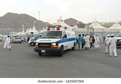 MINA, SAUDI ARABIA : Ambulance in Muslim pilgrims tent in Mina to help pilgrims who get sick. Millions of muslims around the world perform hajj during this time (08/2018).