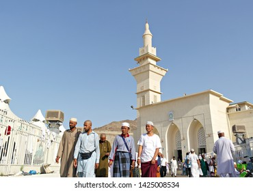 MINA, SAUDI ARABIA : pilgrims at Al-Khaif mosque in Mina, Saudi Arabia. The mosque only opened for 30 days a years during hajj period (08/2018).