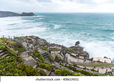 Minack Theatre on a windy, strong tide day, Cornwall England