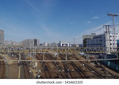 Minamisenju, Tokyo, Japan - February 22, 2017 : Quadruple line in Minamisenju.